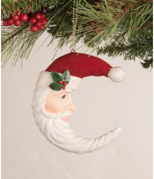 Traditional Santa Moon Ornament