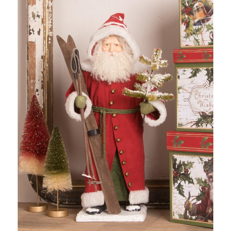 Vintage Santa with Skis