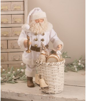 Winter Dressed Santa with Basket of Toys