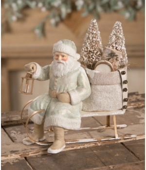 Aqua and Gold Santa on Sled