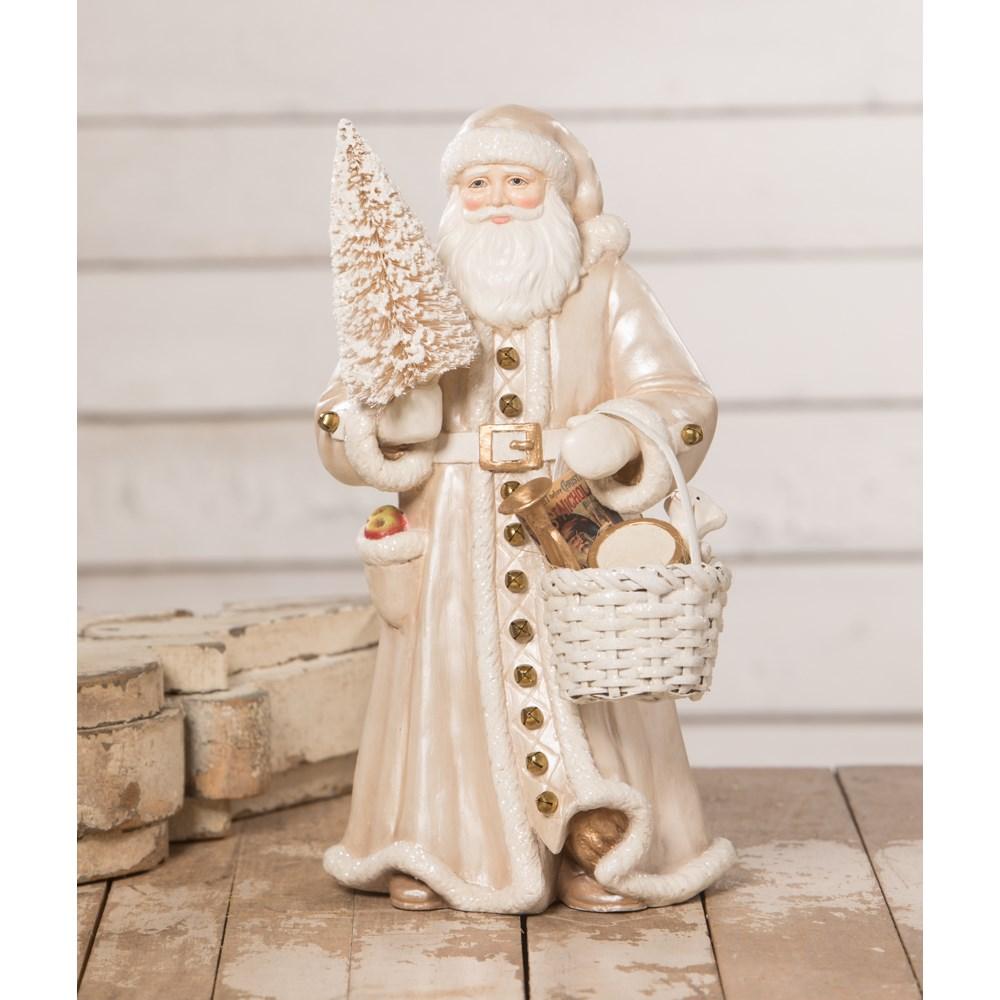 Peaceful Winter Santa with Basket