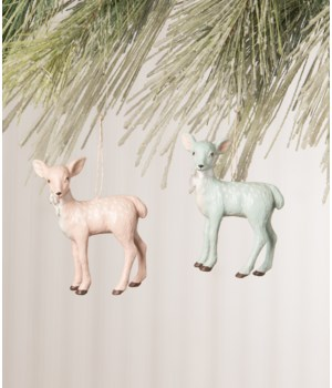 Pastel Christmas Fawn Ornament 4/A