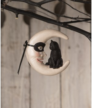 Hallow's Eve Cat on Moon Ornament