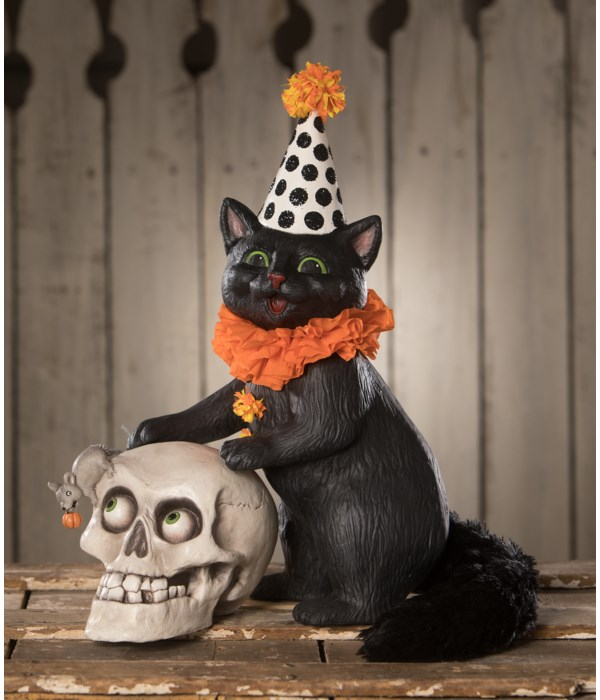 Purr-fect Catch Cat with Skull