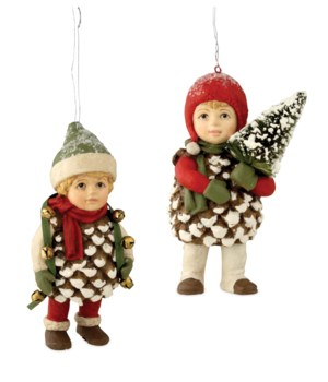 Traditional Pinecone Kid Ornament 2/A