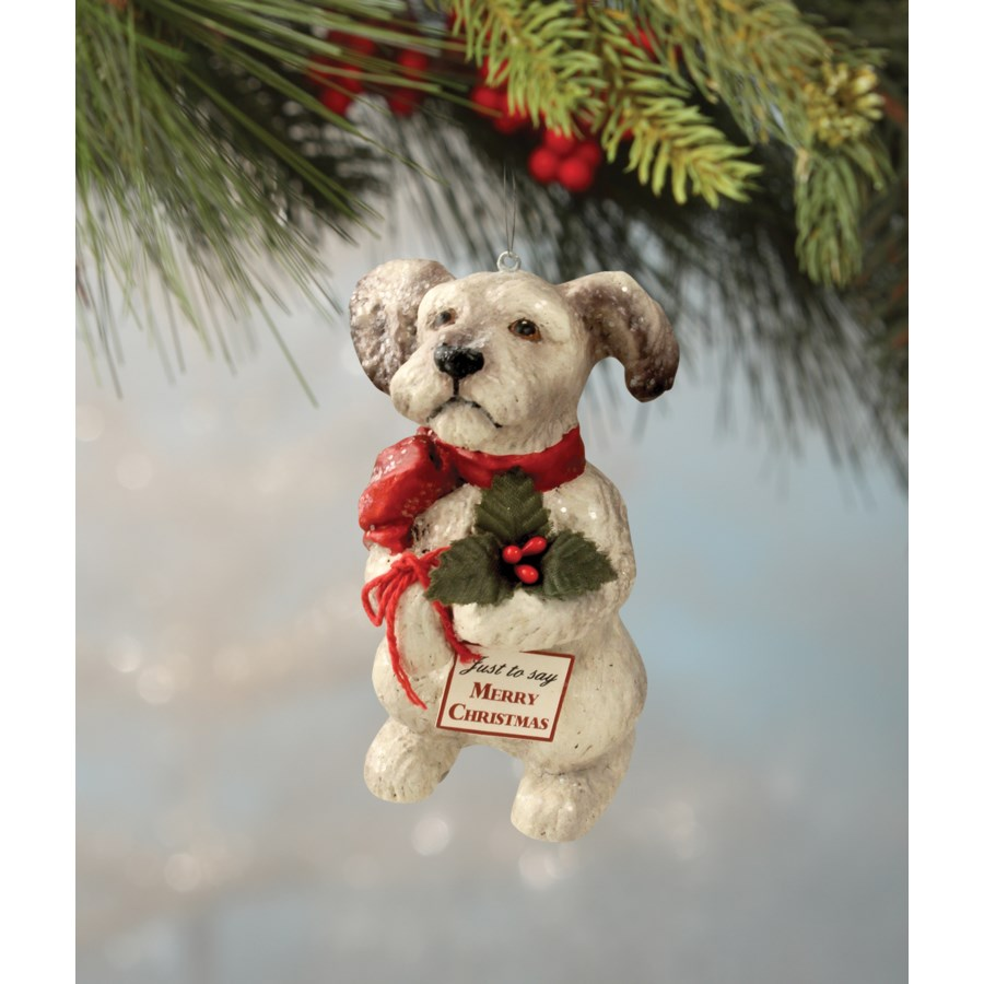 Terrier Puppy With Holly Ornament