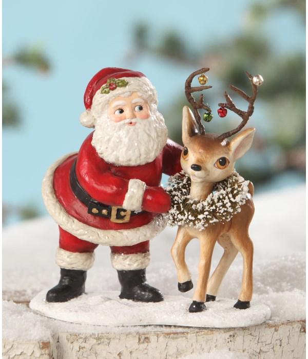 Retro Santa With Reindeer