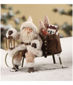 Woodland Santa on Sled Small
