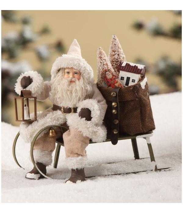 Woodland Santa on Sled Small