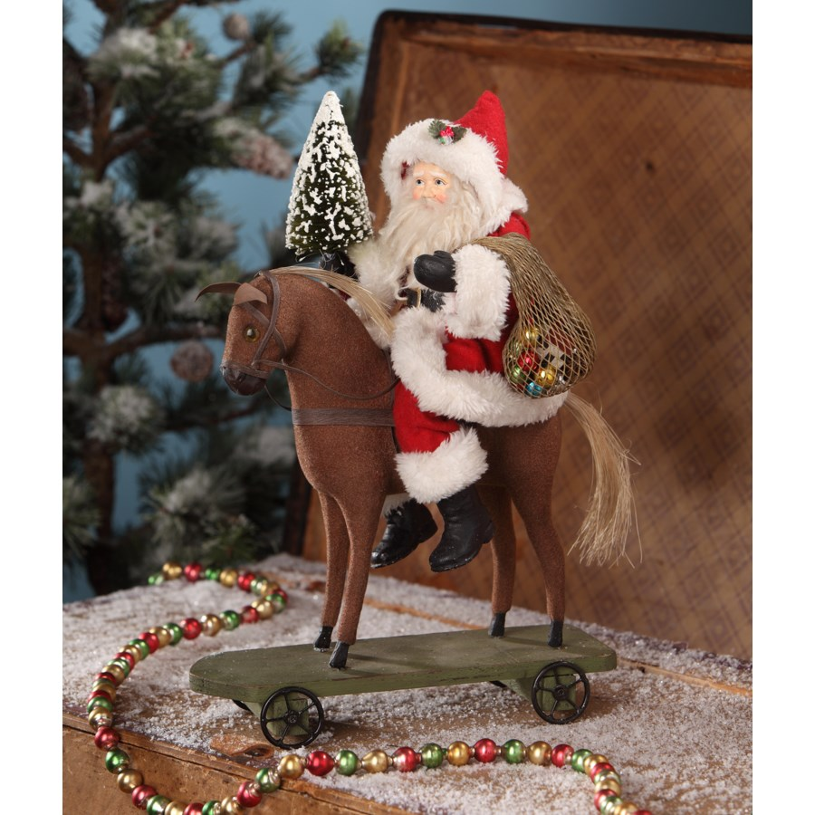 Santa on Pull Toy Horse