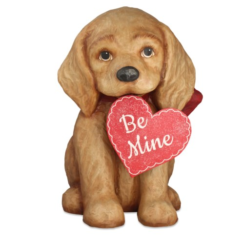 Be Mine Puppy Large Paper Mache