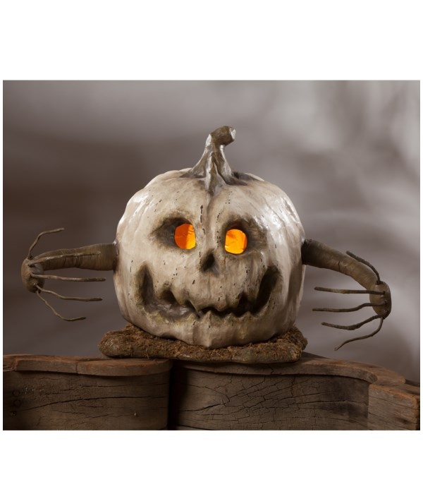 White Into The Woods Pumpkin Large Paper Mache