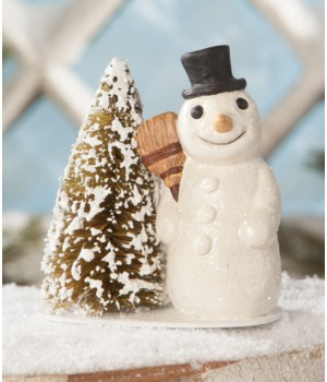 Vintage Snowman With Broom