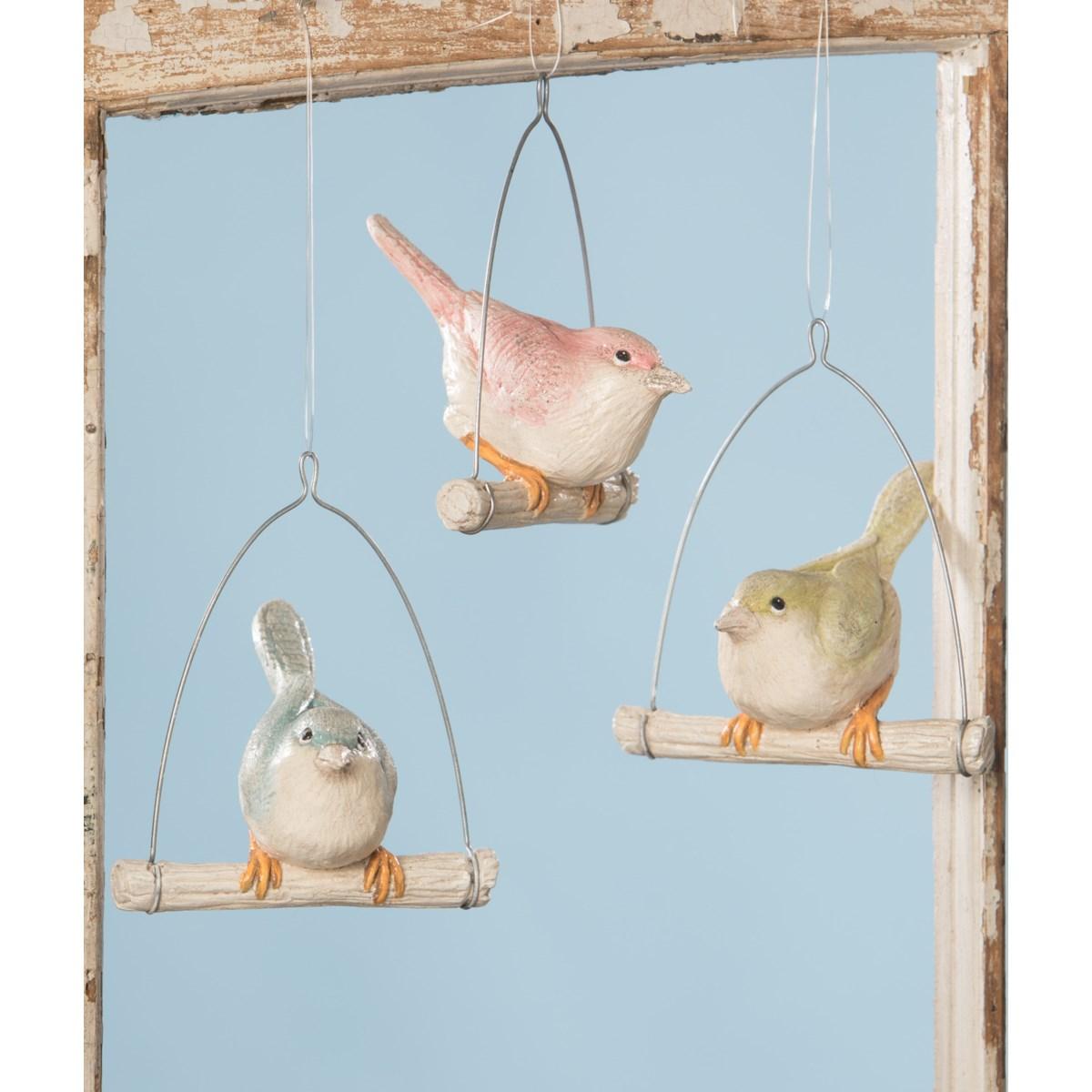 Pastel Bird on Perch Ornament 3A