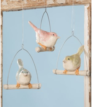 Pastel Bird on Perch Ornament 3/A