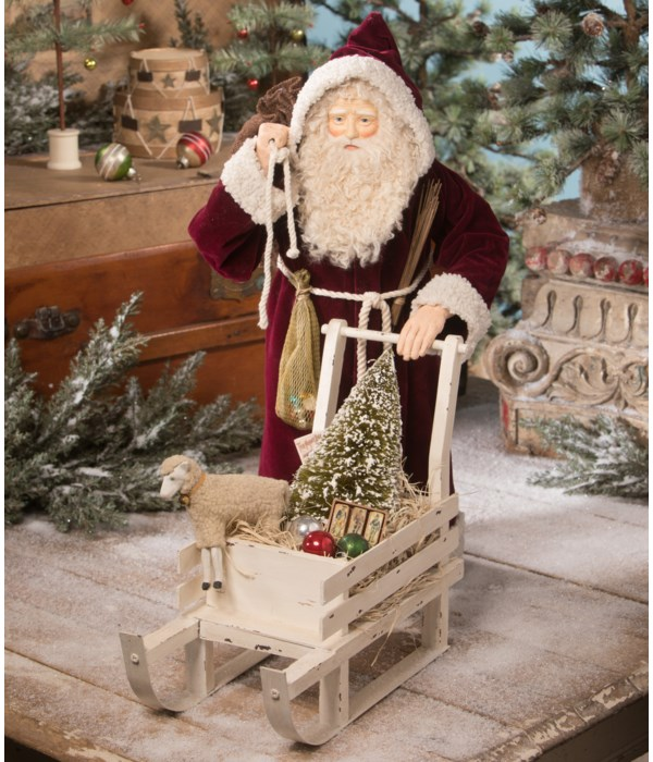 Victorian Santa With Sled of Toys