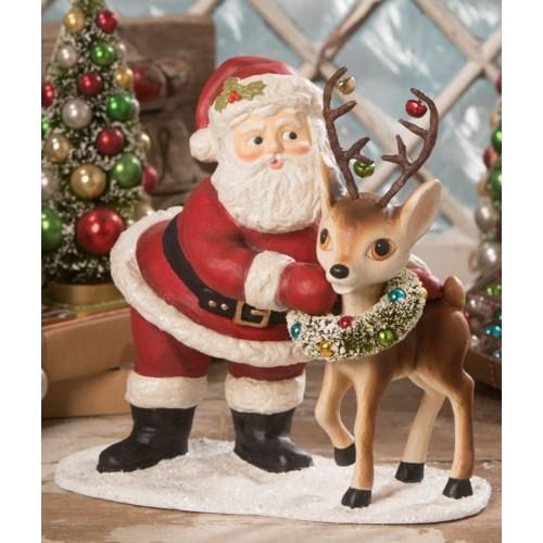 Retro Santa With Reindeer Large