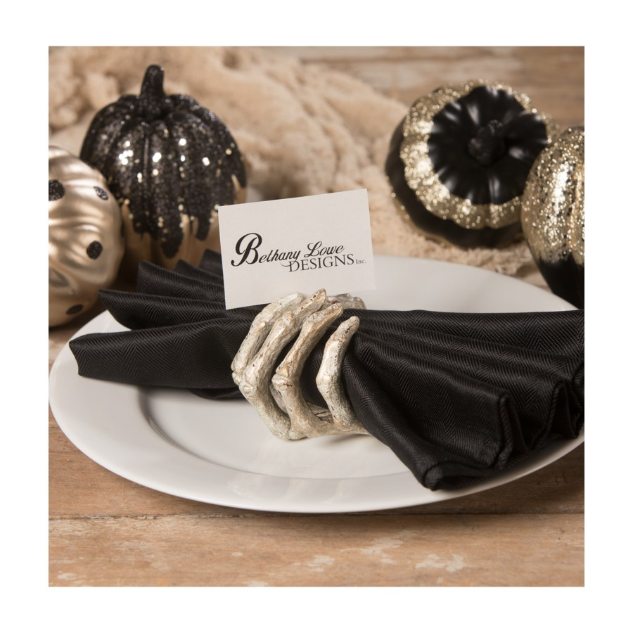 Gilded Skeleton Hand Card Holder/Napkin Ring/Wine Adornment