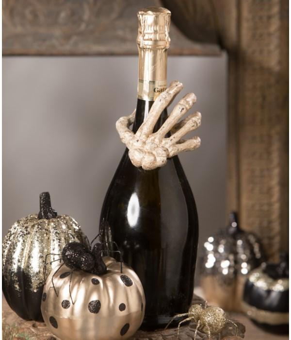 Gilded Skeleton Hand Card HolderNapkin RingWine Adornment