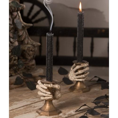 Gilded Skeleton Hand Candle Holder