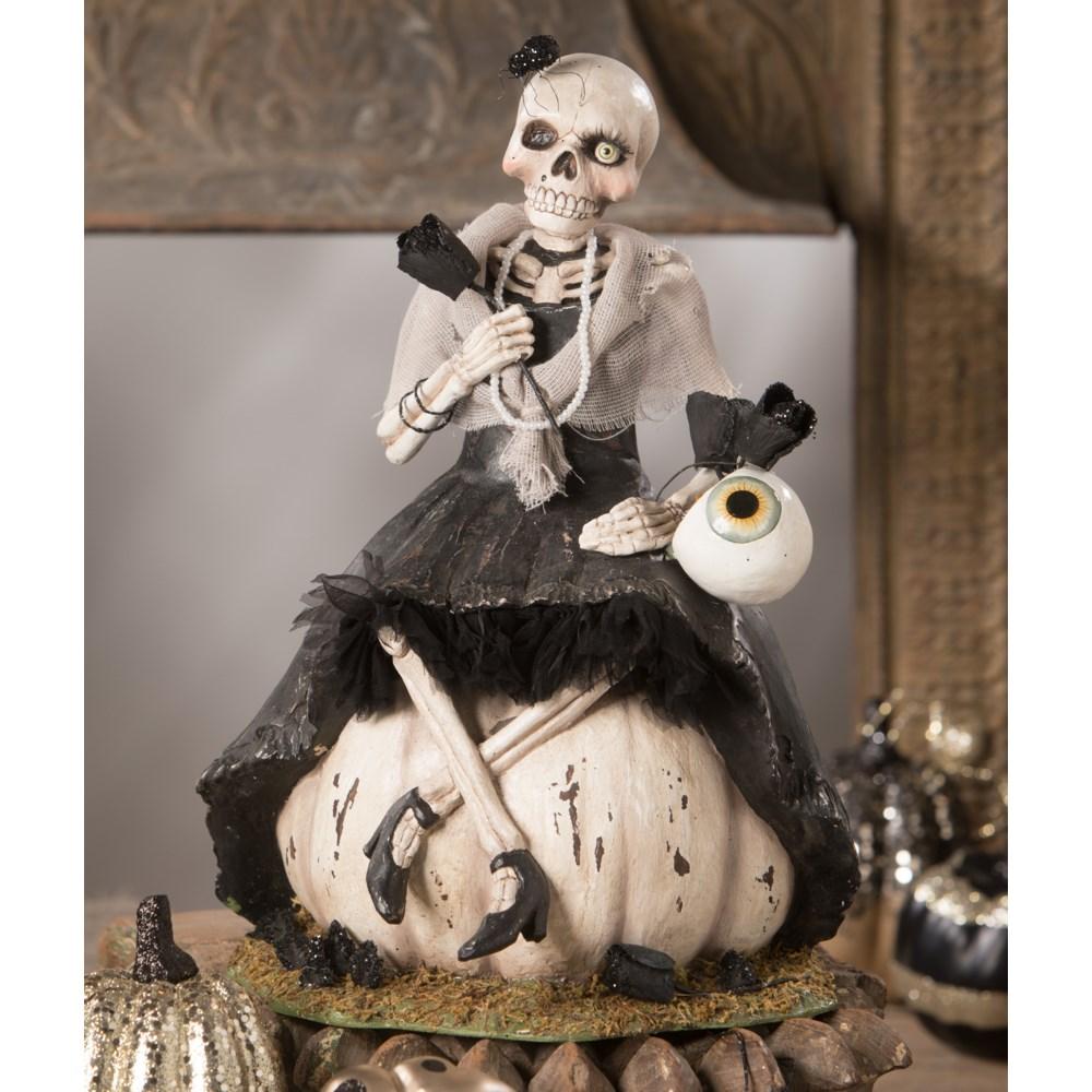 Miss Skeleton On Pumpkin