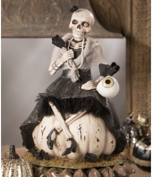 Miss Skeleton On Pumpkin
