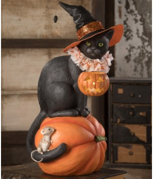 Black Cat Witch On Pumpkin
