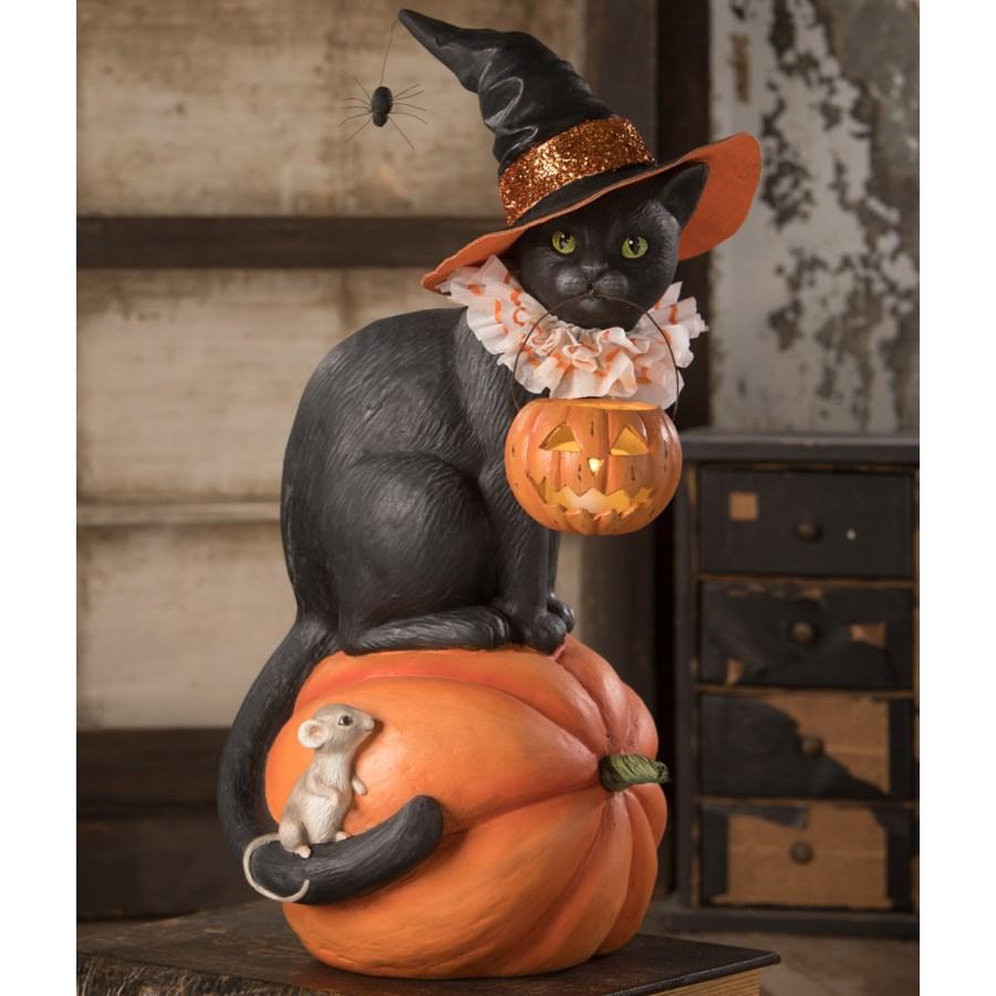 Black Cat Witch On Pumpkin