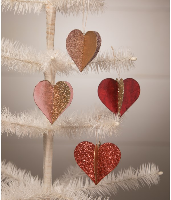 Sweet Heart Glitter and Foil Ornament 4A