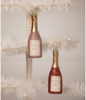 Bubbles and Kisses Champagne Ornament/Place Card Holder 2/A
