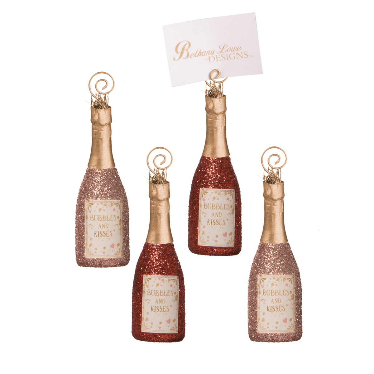 Bubbles and Kisses Champagne OrnamentPlace Card Holder S4