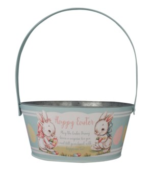 Tin Aqua Easter Bucket
