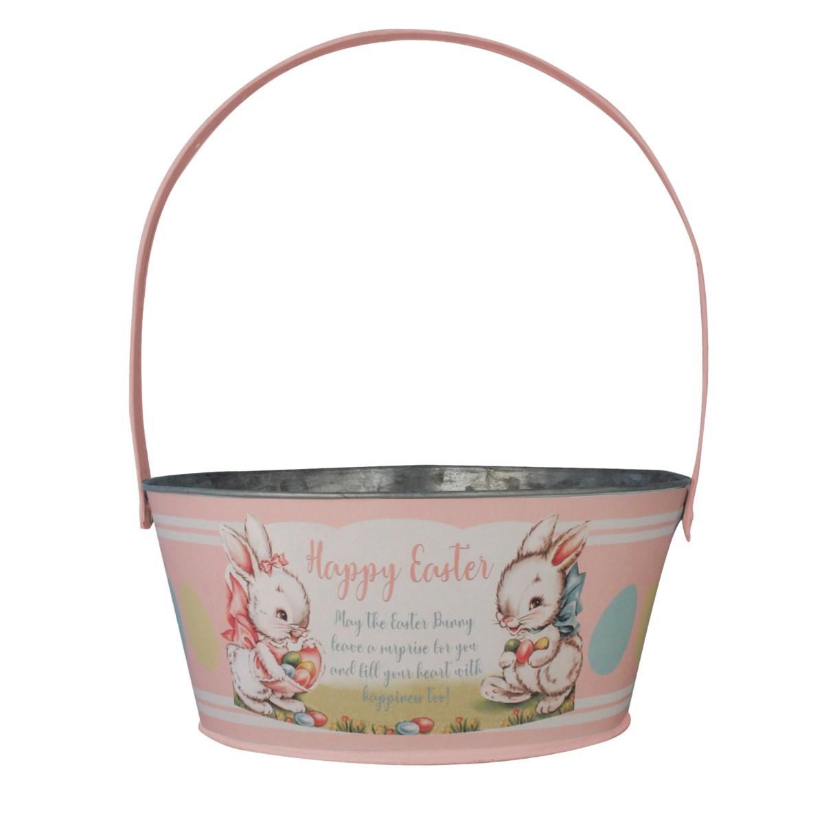 Tin Pink Easter Bucket