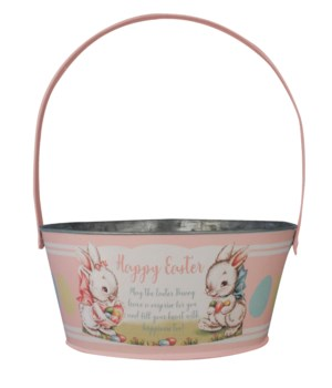 Tin Pink Easter Bucket