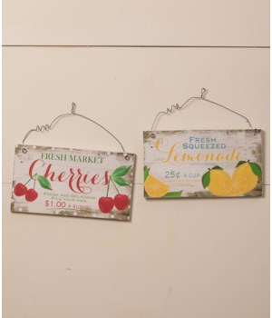 Fresh Fruit Tin Signs 2/A