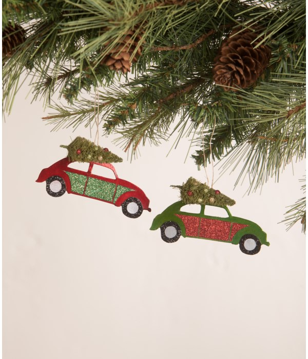 Tin Punch Buggy with Tree Ornament 2A