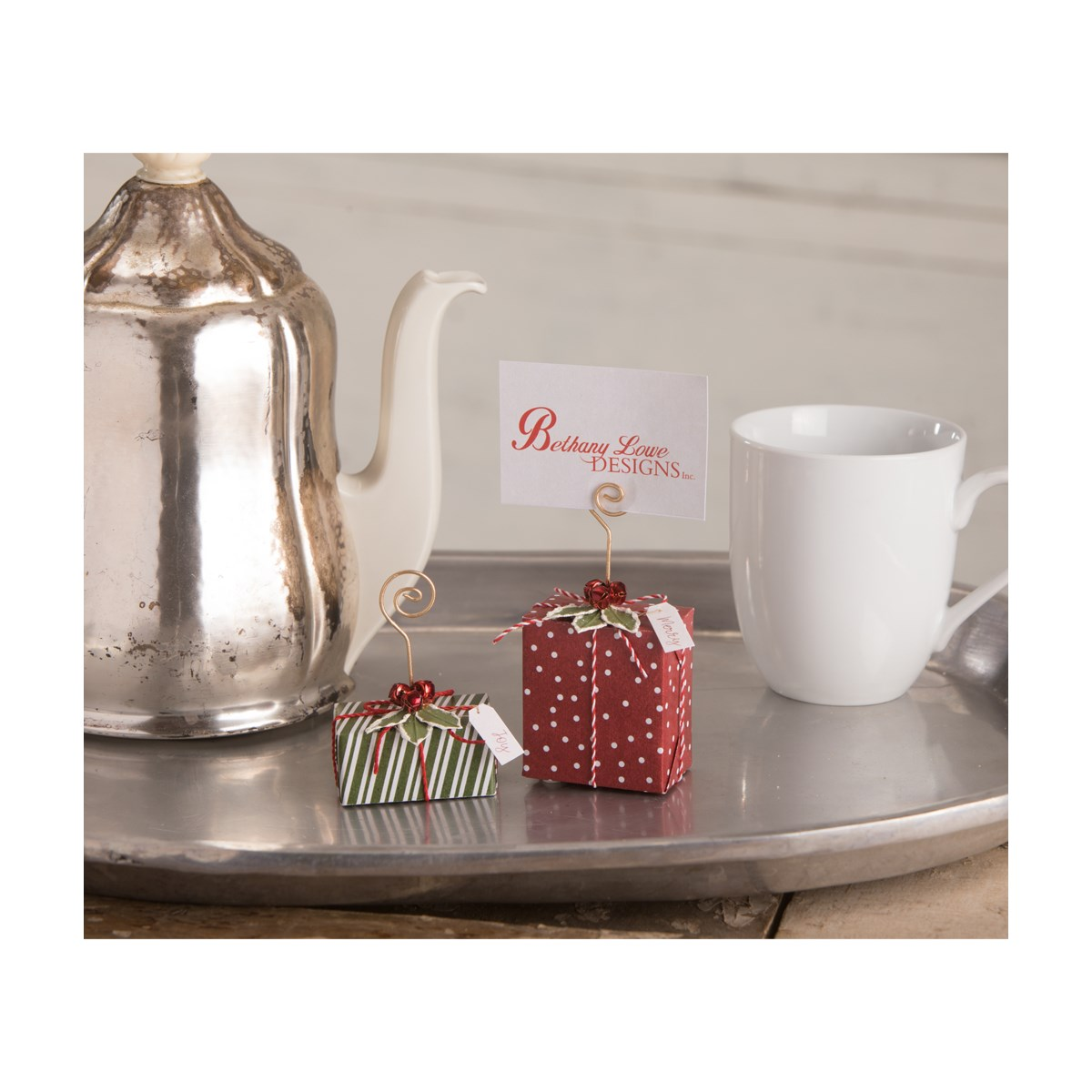 Merry Christmas Package OrnamentPlace Card Holder S2