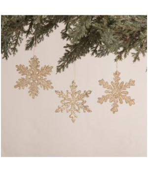 Old Gold Snowflake Ornament 3A