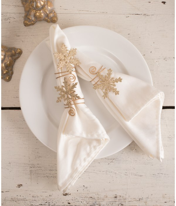 Old Gold Snowflake Napkin Ring 3A