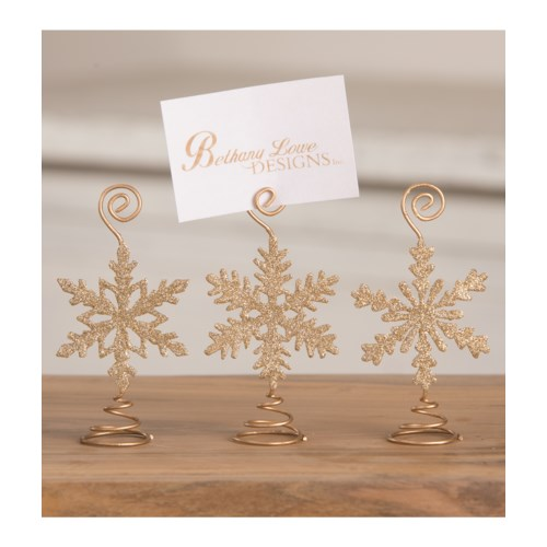 Old Gold Snowflake Place Card Holder 3A