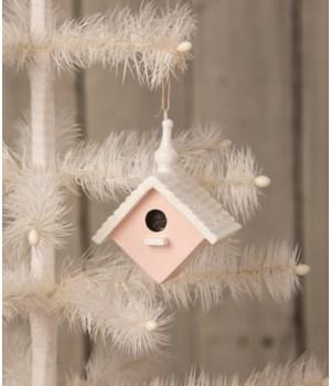 Bird House Ornament Pink