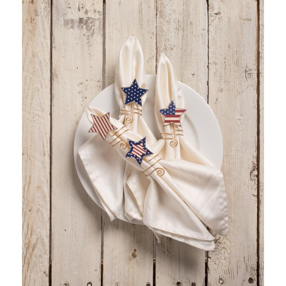 Americana Star Napkin Rings S4
