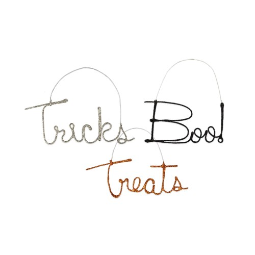 Halloween Wire Word Ornament 3/A