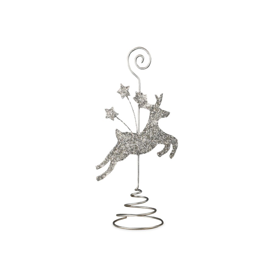 Platinum Reindeer Place Card Holder