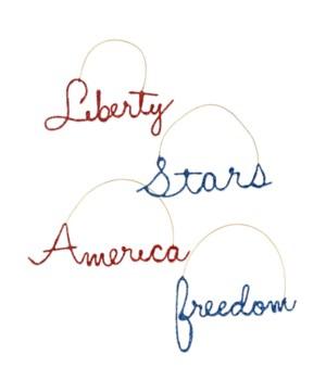 Americana Wire Word Ornament 4A