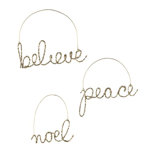 Peaceful Wire Word Ornament 3A