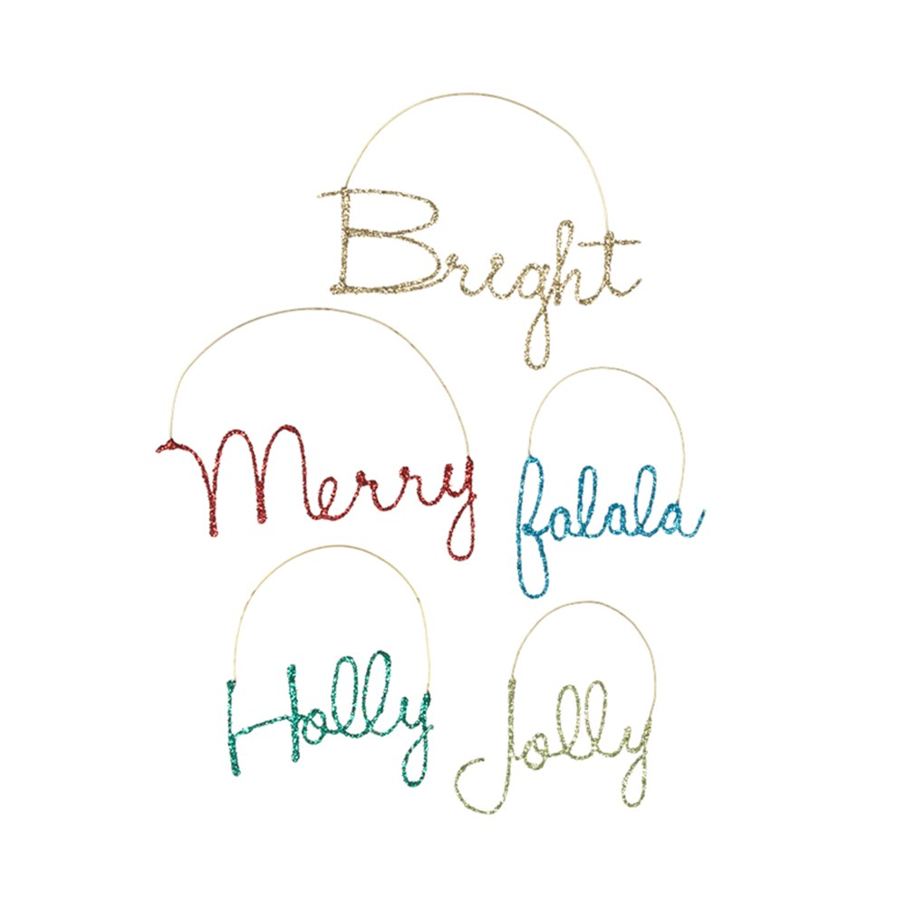 Merry & Bright Wire Word Ornament 5A