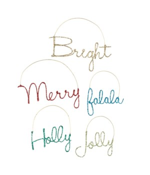 Merry & Bright Wire Word Ornament 5/A