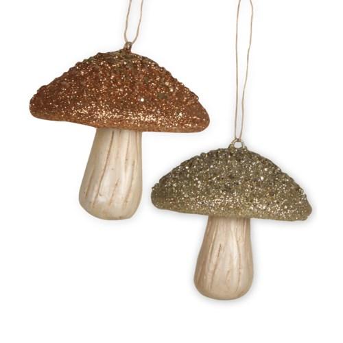 Elegant Fall Mushroom Ornament 2/A