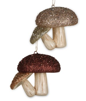 Elegant Pair Mushrooms Ornament 2A